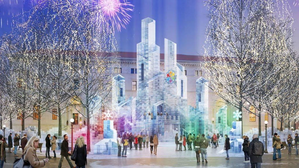 Festival pessoas admirando castelo de gelo