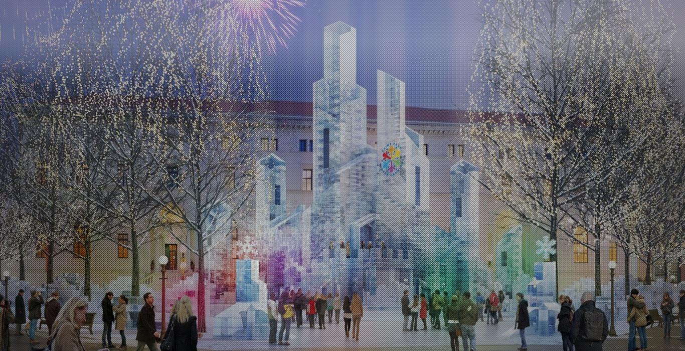 Castelo de gelo em festivais